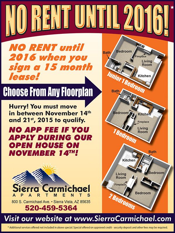 No Rent Until 2016 when you sign a 15 month lease! You must move in between November 14th and 21st, 2015 to qualify. Choose from any of our 3 floorpans! Plus, there is no app fee if you apply during our Open House on November 14th!